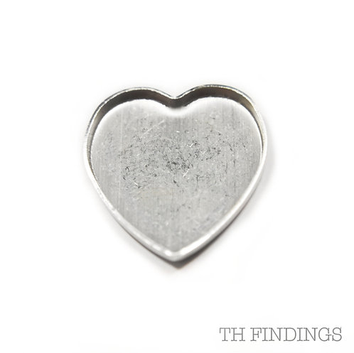 Sterling Silver 925 Heart Shaped Flat Edge Collet