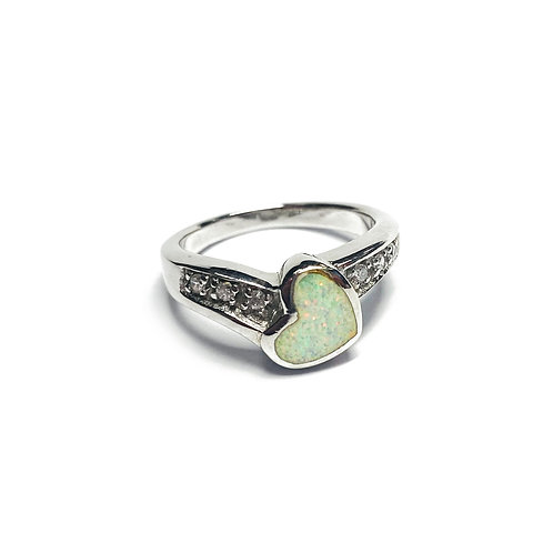 Sterling Silver 925 Iridescent Opal Heart CZ Ring