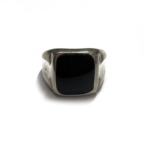 Sterling Silver 925 Size O Antique Finish 14mm Onyx Statement Ring