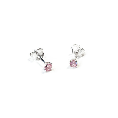 3mm Pink CZ Boxed Studs