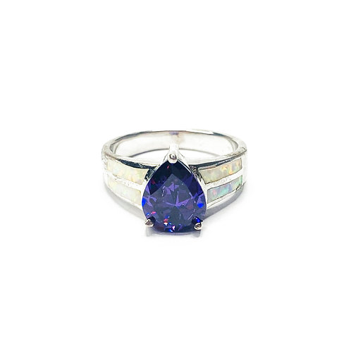 Synthetic Opal Teardrop Ring
