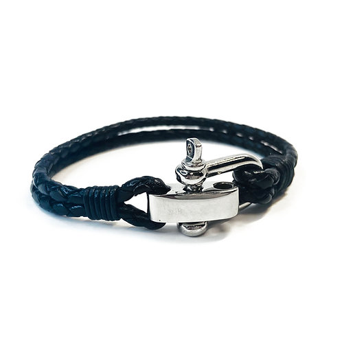 Real Leather Adjustable Black Bracelet