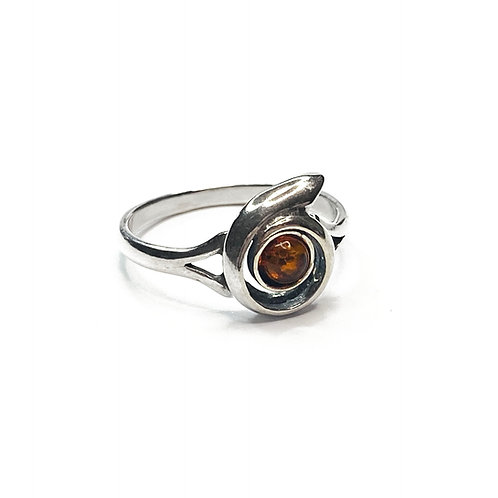 Sterling Silver 925 Amber Anommite Ring