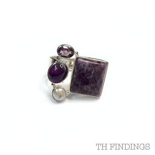 Amethyst & Pearl Semi Precious Sterling Silver Ring - Size R