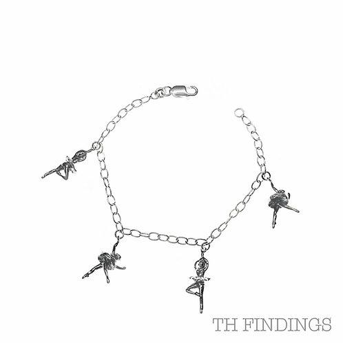 """Sterling Silver 925 7.5"""" Ballerina Bracelet with 4 Dancers"""