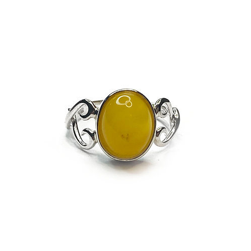 Sterling Silver 925 Yellow Amber Ring