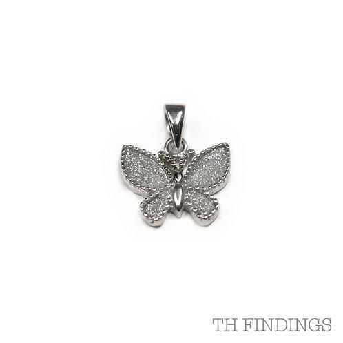 Sterling Silver 925 Glitter Butterfly Pendant