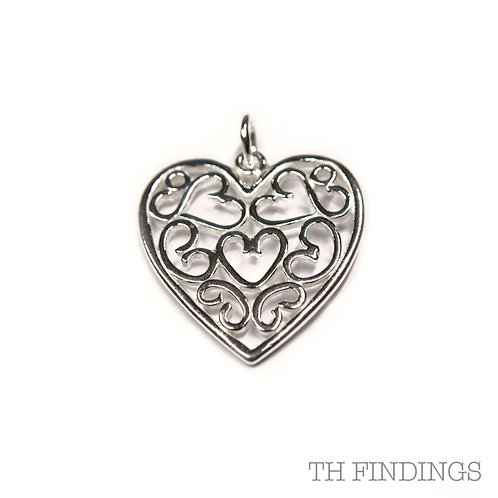 Sterling Silver 925 Filagree Heart Pendant