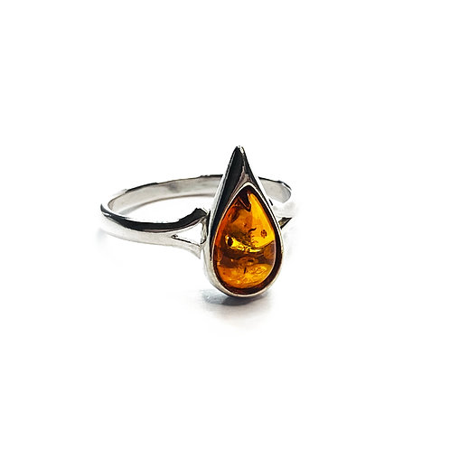 Sterling Silver 925 Amber Teardrop Ring