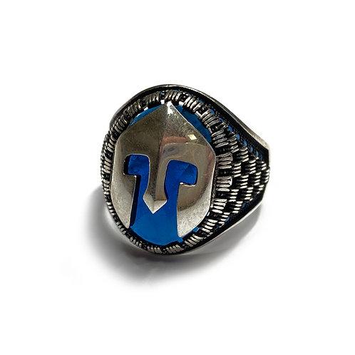 Sterling Silver Size U 925 Antique Finish Blue Crystal Helmet Ring