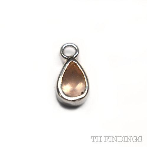 Sterling Silver 925 Pale Pink Teardrop Dropper Charm
