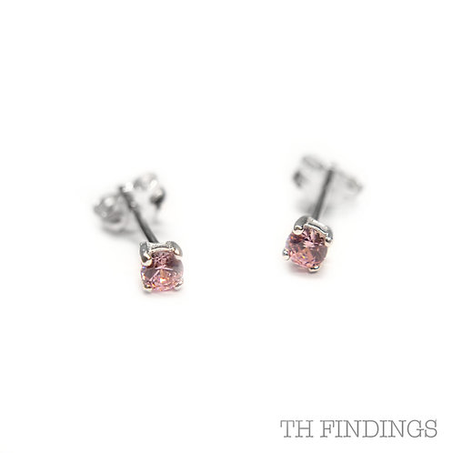 Sterling Silver 925 3mm Square Pink Cubic Zirconia Earstuds