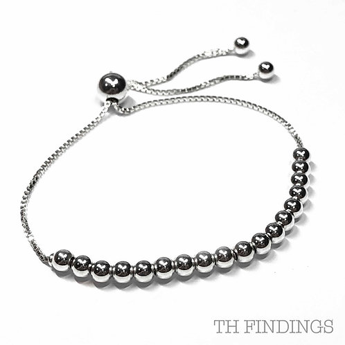 Sterling Silver 925 4mm Bead Adjustable Bracelet