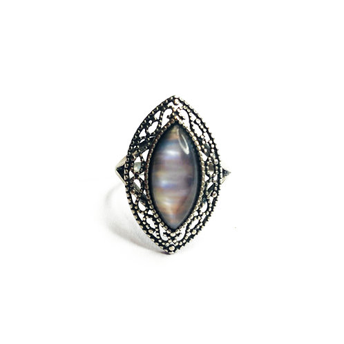 Sterling Silver 925 Ornate Moonstone Statement Ring