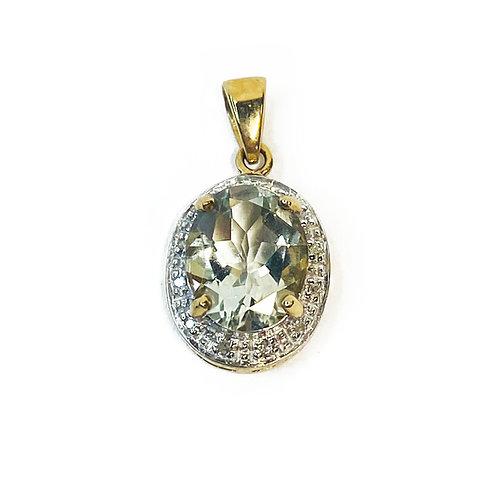 9ct Gold Green Amethyst & DiamondPendant