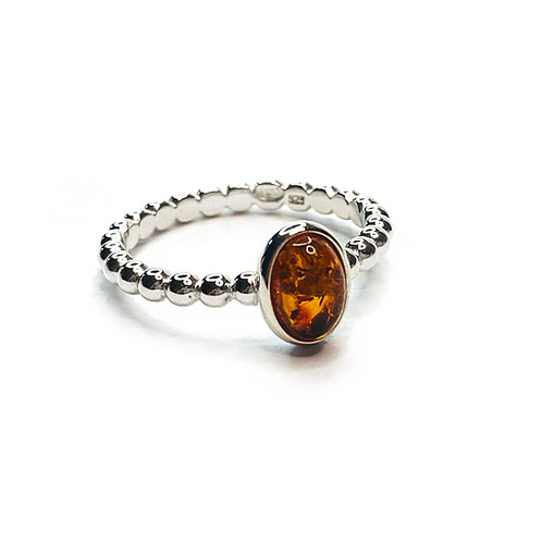 Sterling Silver 925 Amber Ball Band Ring