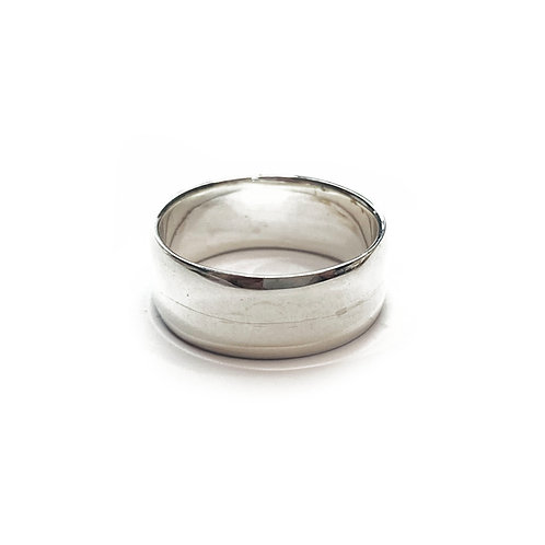 Sterling Silver 925 8mm Band Beveled Ring