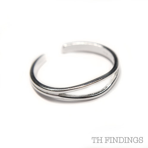 Sterling Silver 925 Adjustable 2 bar Ring Shank