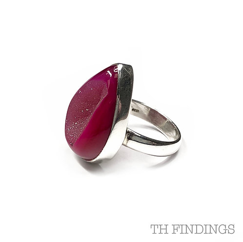 Pink Druzy Agate Semi Precious Sterling Silver Ring - Size R