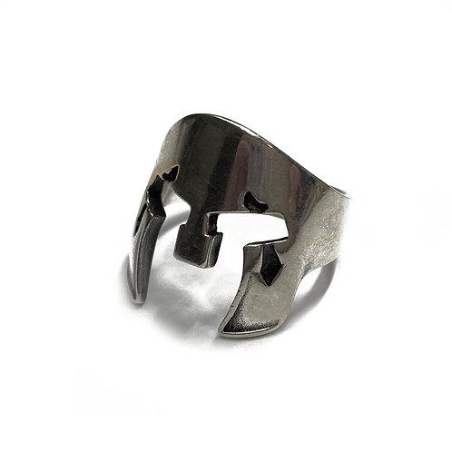 Sterling Silver 925 Size U Antique Finish Helmet Ring