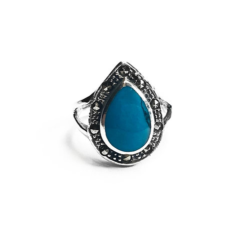 Sterling Silver 925 Turquoise Teardrop Ring