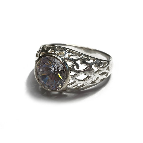 Sterling Silver 925 Antique Finish CZ Ring