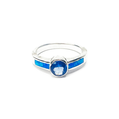 Synthetic Blue Opal CZ Ring