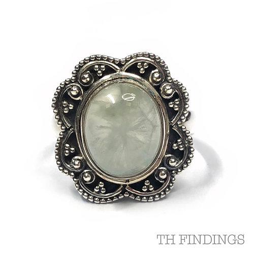 Green Quartz  Semi Precious Sterling Silver Ring - Size M
