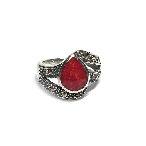 Sterling Silver 925 Antique Finish Red Jasper Ornate Ring
