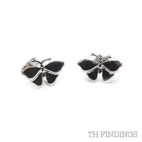 Sterling Silver 925 Rhodium Plated Butterfly Studs