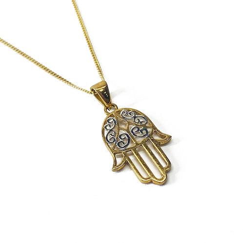 9ct Yellow & White Gold Hamsa Hand Pendant