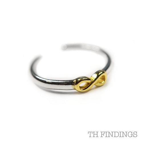 Sterling Silver 925 Gold Plated Adjustable Infinity Ring