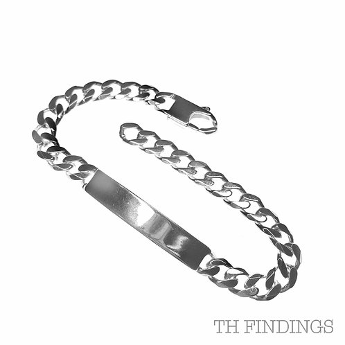 "Sterling Silver 925 8.5"" Large ID Bracelet"
