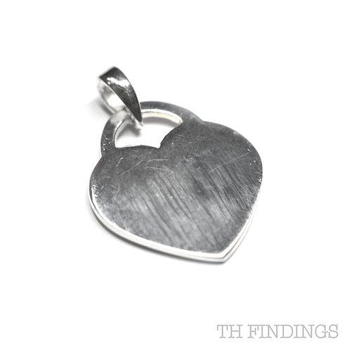 Sterling Silver 925 Flat Heart Charm