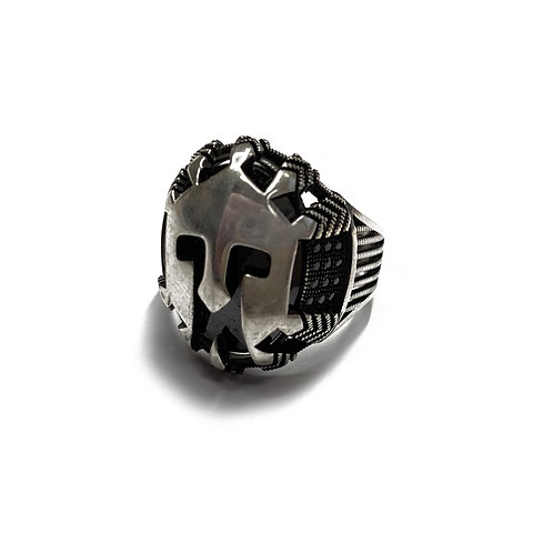 Sterling Silver 925 Size T Antique Finish Black Pavé Gladiator Helmet Ring