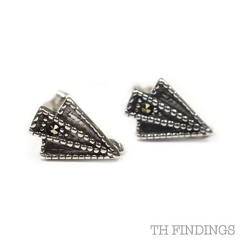 Sterling Silver 925 Antique Finish Art Deco Ear Studs
