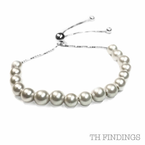 Sterling Silver 925 Faux Pearl Adjustable Bracelet