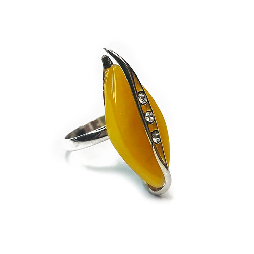 Sterling Silver 925 Amber CZ Ring