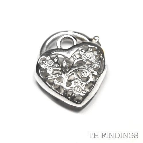 Sterling Silver 925 Large Heart Shaped Filigree Padlock