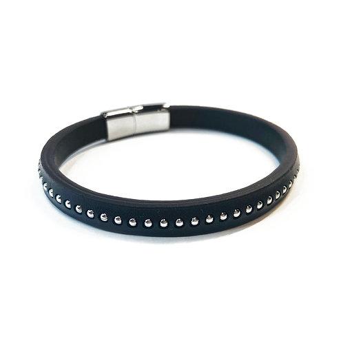 "8.5"" Real Leather Brown Studded Bracelet"