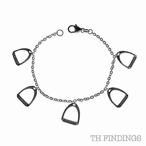 """Sterling Silver 925 7.5"""" Bracelet with Stirrup Charms"""