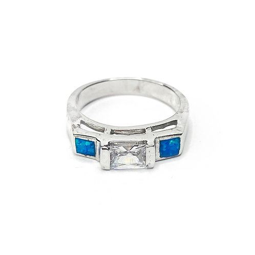 Synthetic Blue Opal & CZ Ring