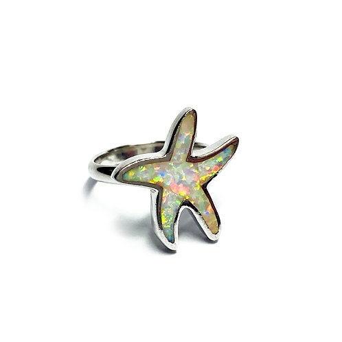 Sterling Silver 925 Iridescent Opal Starfish Ring