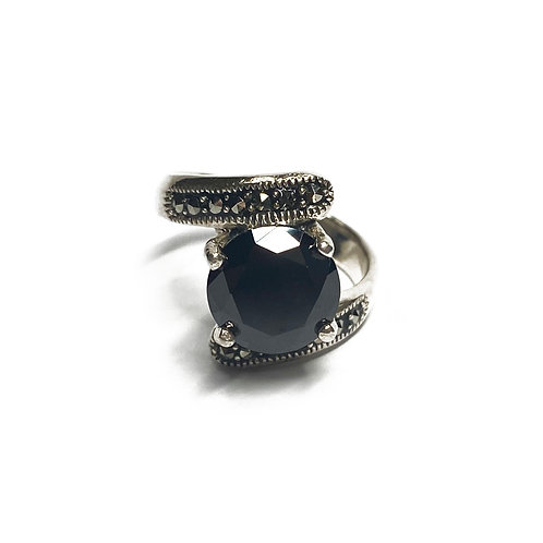 Sterling Silver 925 Black Cubic Zirconia Ring