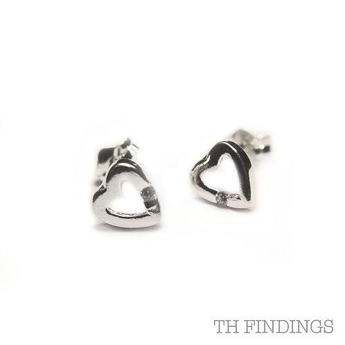 Sterling Silver 925 Heart Earstuds