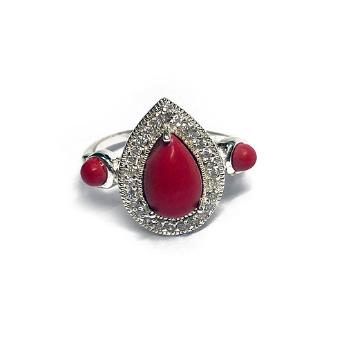 Sterling Silver 925 Pink Coral Cubic Zirconia Ring