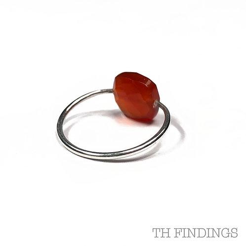 Carnelian Semi Precious Sterling Silver Ring - Size T