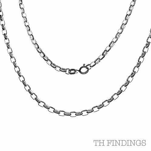 "Sterling Silver 925 20"" Medium Oval Belcher Chain"