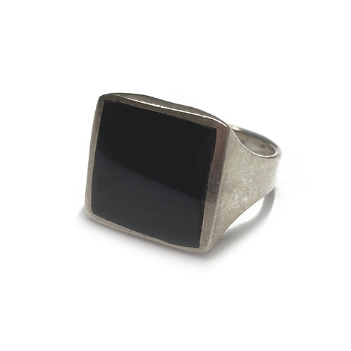 Sterling Silver 925 Size N Antique Finish 15mm Onyx Statement  Ring