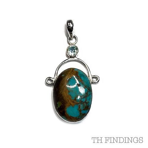Turquoise & Aqaumarine, Semi Precious, Sterling Silver Statement Pendant